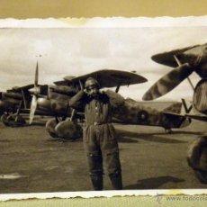 Militaria: FOTOGRAFIA MILITAR, ANTIGUA, OFICIAL, FUERZA AEREA, PILOTO, AVIACION, ESPAÑA 1940S. Lote 44701629