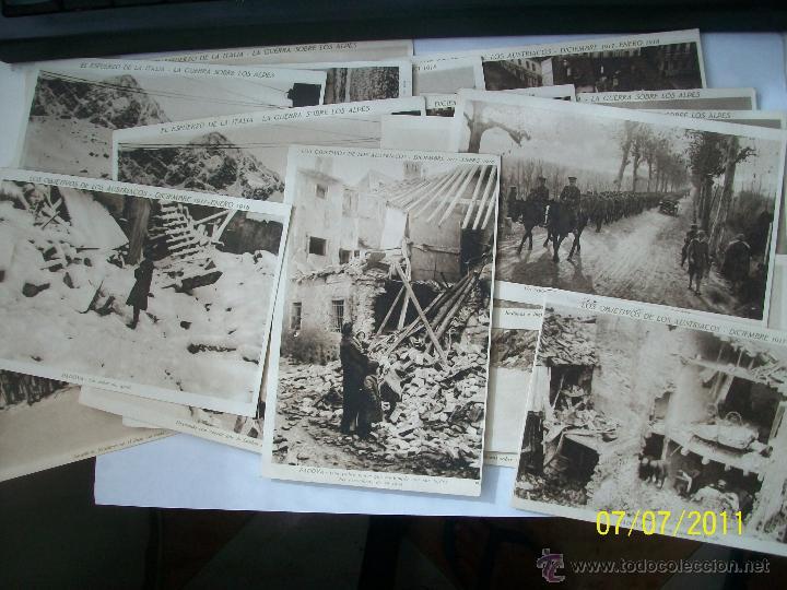 LOTE DE 19 POSTALES DE LA PRIMERA GUERRA MUNDIAL. ITALIANOS E INGLESES CONTRA ALEMANIA 1918. (Militar - Fotografía Militar - I Guerra Mundial)