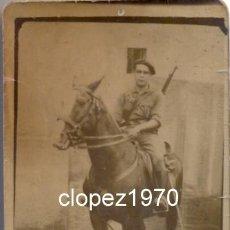 Militaria: DAROCA, 1939, GUERRA CIVIL, MILICIANO A CABALLO, 42X70MM. Lote 45090434