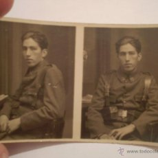 Militaria: ANTIGUA DOBLE FOTOGRAFIA DE JOVEN MILITAR.FOTO GOMEZ,SEVILLA.PERIODO GUERRA CIVIL?. Lote 45884782
