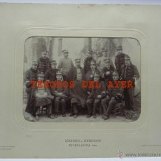 Militaria: FOTOGRAFIA ALBUMINA DE LA ACADEMIA DE INGENIEROS DE GUADALAJARA 1909, OFICIALES, FOTO J. DAVID, LEVA. Lote 46088760