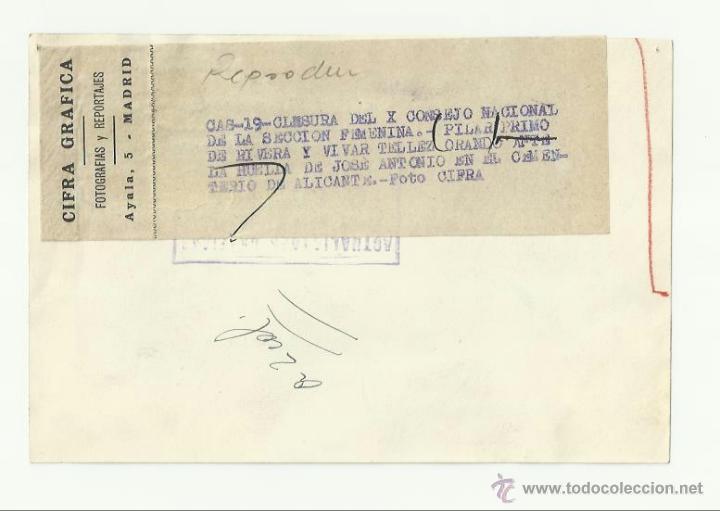 Militaria: Falange. Pilar Primo de Rivera. Clausura del X Consejo Nacional de la Sección Femenina. Tumba de Jos - Foto 2 - 46154220