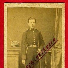Militaria: FOTO MILITAR, FOTOGRAFIA DEHEBERT , CON SABLE ,TARJETA VISITA, ORIGINAL,L. Lote 46316865