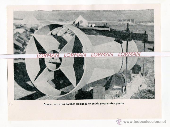 LAMINA FOTOGRAFICA PROPAGANDA ALEMANA II GUERRA MUNDIAL BOMBAS ALEMANAS - ORIGINAL - (Militar - Fotografía Militar - II Guerra Mundial)