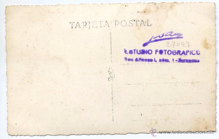 Militaria: Alférez provisional de ingenieros y automovilismo camisa azul, falange, postal fotográfica, Zaragoza - Foto 2 - 48946044