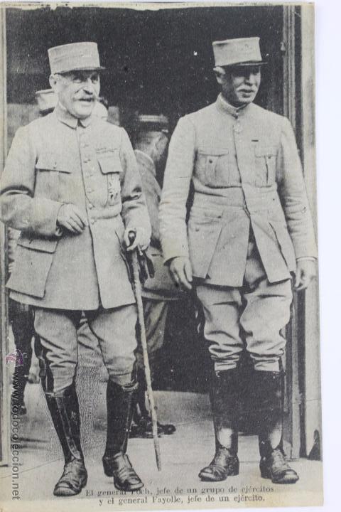Militaria: P-1792. GENERALES FRANCESES DE LA PRIMERA GUERRA MUNDIAL.FOCH, FAYOLLE Y NIVELLE. NO CIRCULADAS - Foto 2 - 50096110