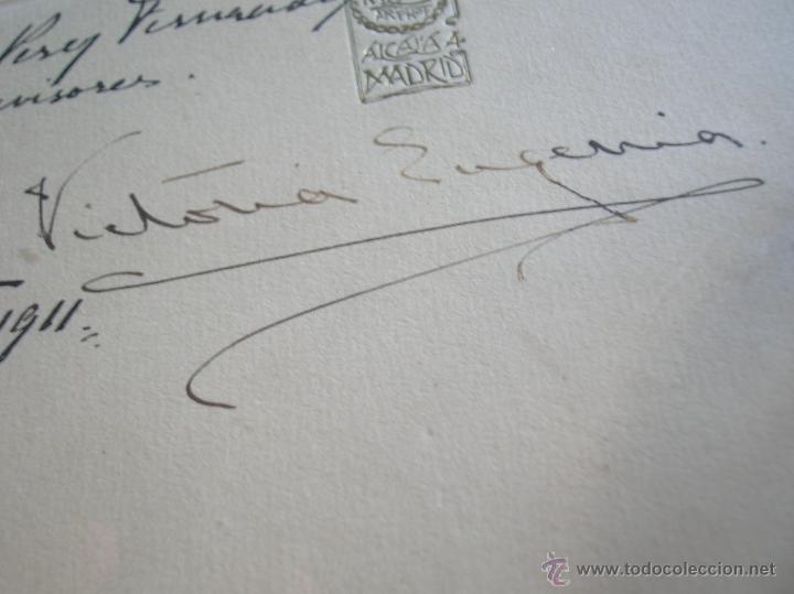 Militaria: GRAN RETRATO DE KAULAK DE ALFONSO XIII Y VICTORIA EUGENIA. FIRMADO Y DEDICADO POR LOS REYES EN 1911. - Foto 8 - 50793627