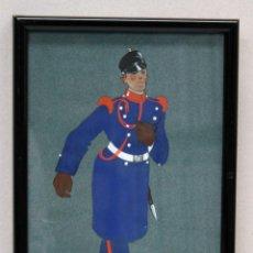 Militaria: DIBUJO ORIGINAL SOLDADO EPOCA ALFONSO XIII CUERPO INGENIEROS . CIRCA 1910.. Lote 51126589