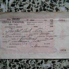 Militaria: TARRAGONA - CEDULA PERSONAL AÑO 1924 - AYUNTAMIENTO DE TARRAGONA N. 1368. Lote 51223851