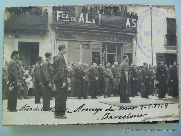 Militaria: GUERRA CIVIL : ESCUADRA DE FALANGE , ARENYS DE MAR, 1939 .. CUÑO MANDO DEL RGTO. GRANADA - Foto 1 - 51325008