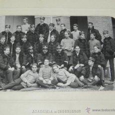 Militaria: FOTOGRAFIA ALBUMINA DE LA ACADEMIA DE INGENIEROS DE GUADALAJARA 1909, FOTO J. DAVID, LEVALLOIS-PARIS. Lote 51353070