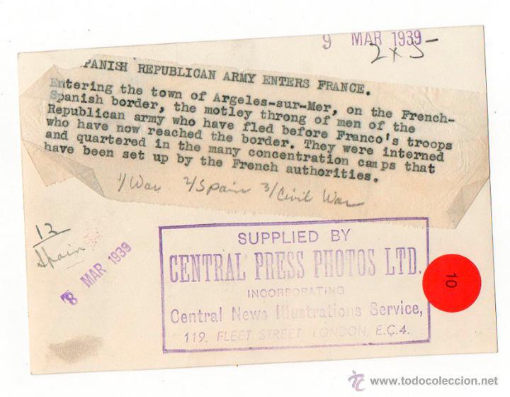 Militaria: REFUGIADOS EJERCITO REPUBLICANO EN ARGELES SUR MER. FRANCIA. 1939 ORIGINAL AGENCIA. EXILIO - Foto 2 - 52169838