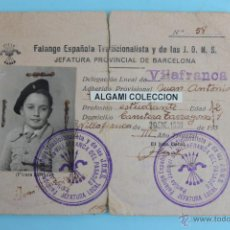 Militaria: CARNET NIÑO DE LA FALANGE ( FECHAS ) ENERO 1939 GUERRA CIVIL. Lote 52477157