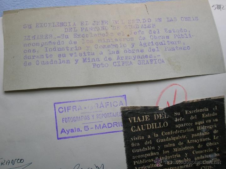 Militaria: FOTOGRAFIA ORIGINAL DE FRANCO VISITANDO EL PANTANO DE GUADALEN. LINARES. VILCHES. JAEN. AÑO 1951. - Foto 6 - 52913717