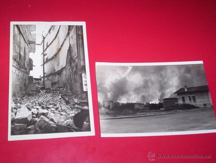2 FOTOS INCENDIO RUINAS GUERRA CIVIL IRUN GUIPUZCOA POSTAL FOTOGRAFIA MARIN SAN SEBASTIAN (Militar - Fotografía Militar - Guerra Civil Española)