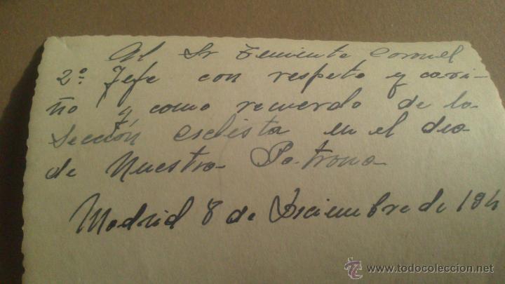 Militaria: DEDICATORIA AL TENIENTE GENERAL 2º JEFE, DE LA SECCION CICLISTA, DIA DE LA PATRONA. MADRID 8 12 1949 - Foto 2 - 53375740