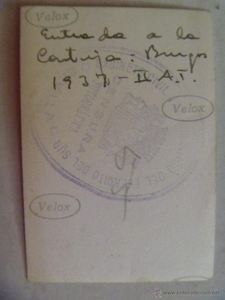Militaria: GUERRA CIVIL : MILICIANOS NACIONALES DE FALANGE, ENTRADA CARTUJA DE BURGOS. 1937 . ESCUDO REPUBLICA - Foto 2 - 53497052