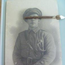 Militaria: GUERRA CIVIL : ENORME FOTO DE TENIENTE ROJO DE CABALLERIA CON SABLE , REPUBLICA . 30 X 50 CM. Lote 53527254