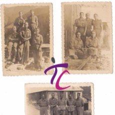 Militaria: LOTE 3 FOTOGRAFIAS LLEIDA SOLDADOS AÑOS 40 VIELHA JOSE PORRAS VIELLA LERIDA MILITAR 8CMX6,5CM. Lote 53599641