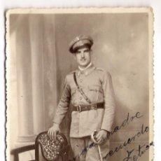 Militaria: FOTOGRAFIA DE MILITAR, TETUAN, CEUTA, DEDICADA 14 - 2 - 1935. Lote 54357342