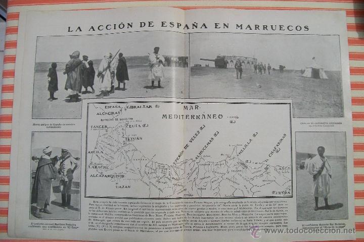 LA ACCIÓN DE ESPAÑA EN MARRUECOS DOBLE PÁGINA REVISTA NUEVO MUNDO 1909 (Militar - Fotografía Militar - Otros)
