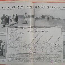 Militaria: LA ACCIÓN DE ESPAÑA EN MARRUECOS DOBLE PÁGINA REVISTA NUEVO MUNDO 1909. Lote 54413629