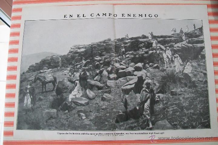 DOBLE PÁGINA EN EL CAMPO ENEMIGO HOJAS REVISTA NUEVO MUNDO 1909 Y OTRAS FOTOS DE LA GUERRA (Militar - Fotografía Militar - Otros)