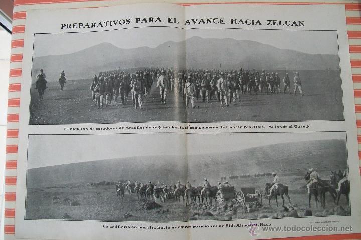 DOBLE PÁGINA PREPARATIVOS PARA EL AVANCE HACIA ZELUAN Y OTRAS FOTOS DE LA GUERRA HOJAS REVISTA 1909 (Militar - Fotografía Militar - Otros)