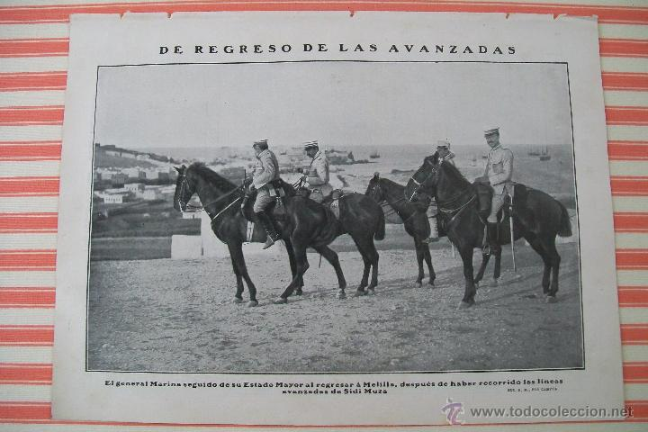 Militaria: DOBLE PÁGINA PREPARATIVOS PARA EL AVANCE HACIA ZELUAN Y OTRAS FOTOS DE LA GUERRA HOJAS REVISTA 1909 - Foto 2 - 54425200