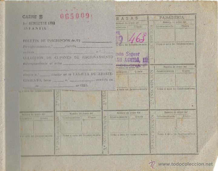PS4965 CARTILLA DE RACIONAMIENTO INFANTIL CON CUPONES. BARCELONA, 1952 (Militar - Fotografía Militar - Guerra Civil Española)