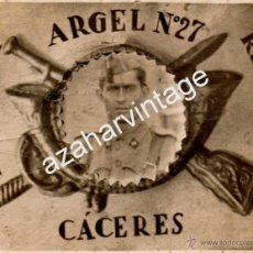 Militaria: FOTOMONTAJE MILITAR, SOLDADO DEL REGIMIENTO ARGEL Nº27, CACERES,88X68MM. Lote 55006761
