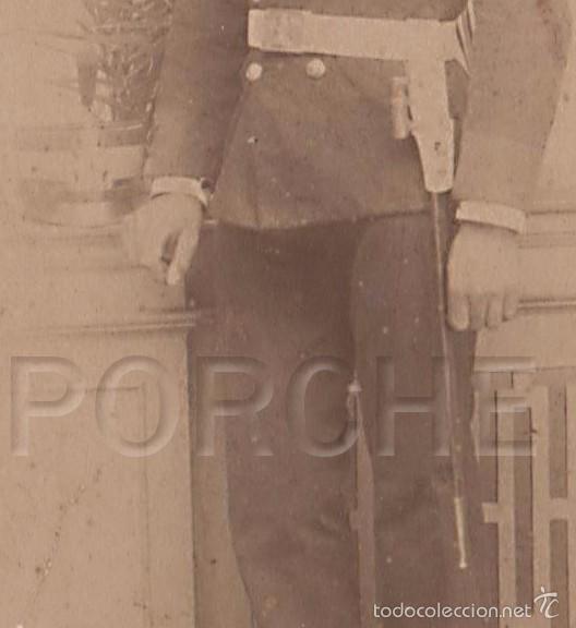 Militaria: 1 FOTO SOLDADO DE INGENIEROS CON LEVITA, MACHETE CUBO Y LEOPOLDINA. FOTÓGRAFO BARCELONA. - Foto 2 - 55801188