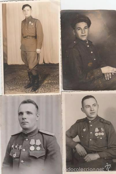 LOTE QUATRO FOTOS MILITARES.SOLDADOS DE SGM .URSS (Militar - Fotografía Militar - II Guerra Mundial)