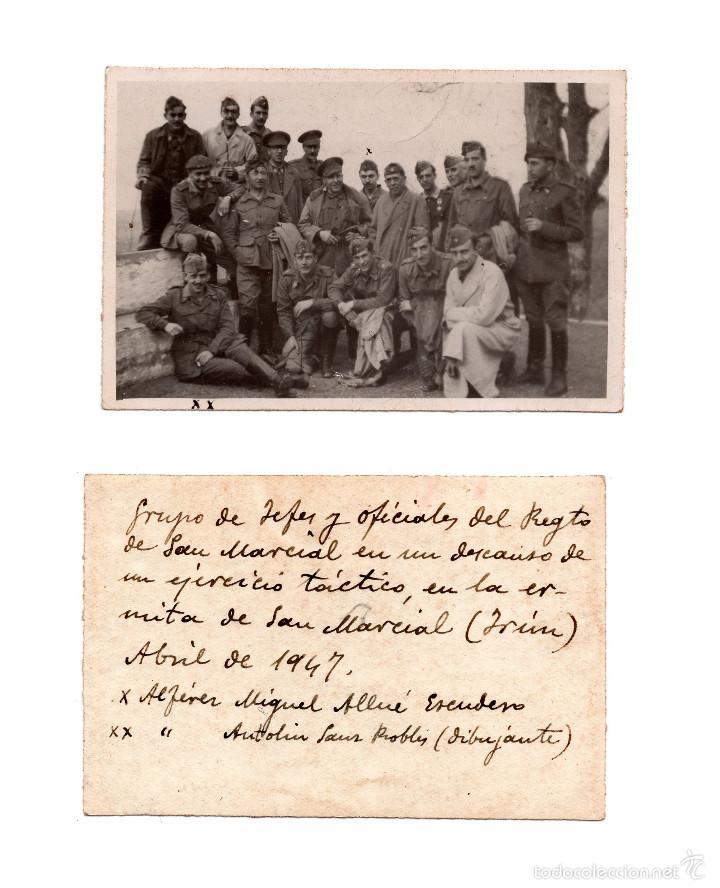 FOTOGRAFÍA DEL GRUPO DE JEFES Y OFICIALES DEL REGIMIENTO SAN MARCIAL, ABRIL DE 1947 (Militar - Fotografía Militar - Otros)