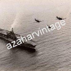Militaria: WWII, ESPECTACULAR FOTOGRAFIA DEL PORTAAVIONES INDOMITABLE, MARINA BRITANICA,200X152MM. Lote 56262134