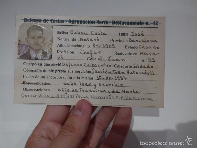 ANTIGUO CARNET REPUBLICANO DE DEFENSA DE COSTAS, 1937, MATARO - BARCELONA, GUERRA CIVIL (Militar - Fotografía Militar - Guerra Civil Española)