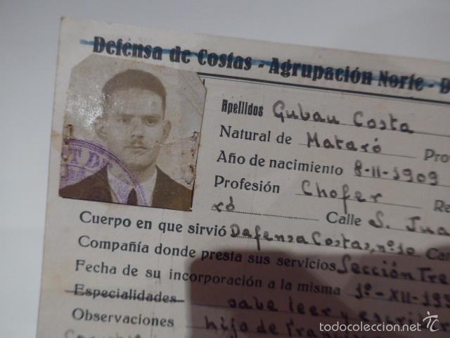 Militaria: Antiguo carnet republicano de defensa de costas, 1937, mataro - barcelona, guerra civil - Foto 2 - 56532407