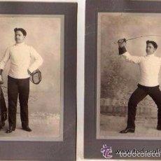 Militaria: LOTE DE 2 FOTOGRAFÍAS DE MILITAR PRACTICANDO ESGRIMA. HABANA 1903. FOTÓGRAFO CUBA.. Lote 56894055
