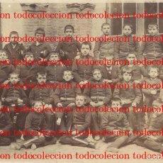 Militaria: ZARAGOZA ? ACADEMIA MILITAR . NIÑOS EPOCA ANTERIOR A LA REPUBLICA ESCUDO REAL EN GORRAS 14 X 23 FOTO. Lote 56948216