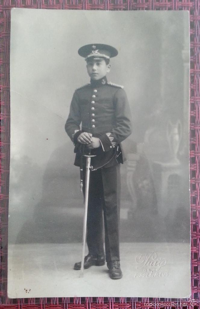 FOTOGRAFIA ESTUDIO PUIG DE F. SOLA REUS NIÑO CON UNIFORME PRINCIPIOS SIGLO XX (Militar - Fotografía Militar - Otros)