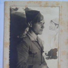 Militaria: GUERRA CIVIL : RETRATO DE CABO DE LA LEGION , DETRAS MURAL DE CANTINFLAS . LARACHE. Lote 57498182