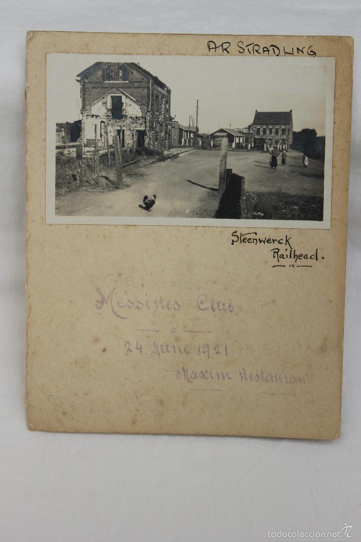 FOTO DE STEENWERCK, MESSINES CLUB, 1921 CON FIRMA SUPERVIVIENTES Y MENU DE MAXIM (Militar - Fotografía Militar - I Guerra Mundial)