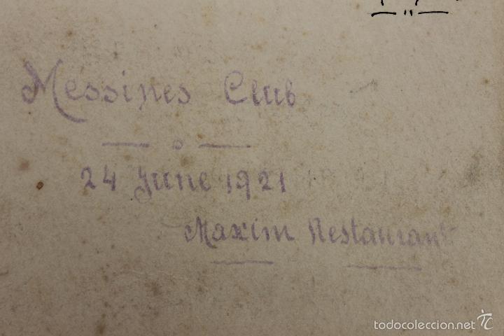Militaria: FOTO DE STEENWERCK, MESSINES CLUB, 1921 CON FIRMA SUPERVIVIENTES Y MENU DE MAXIM - Foto 2 - 57565801