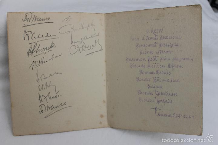 Militaria: FOTO DE STEENWERCK, MESSINES CLUB, 1921 CON FIRMA SUPERVIVIENTES Y MENU DE MAXIM - Foto 3 - 57565801