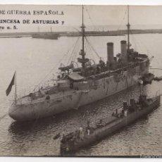 Militaria: FOTOGRAFÍA POSTAL DE MARINA DE GUERRA ESPAÑOLA - CRUCERO PRINCESA DE ASTURIAS Y TORPEDERO Nº5. Lote 57606228
