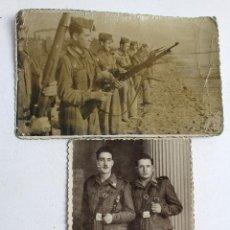 Militaria: F-2557. FOTOGRAFIAS RECLUTAS. SERVICIO MILITAR BARCELONA. PEDRO. AÑO 1951. 2 FOTOGRAFIAS.. Lote 57818082