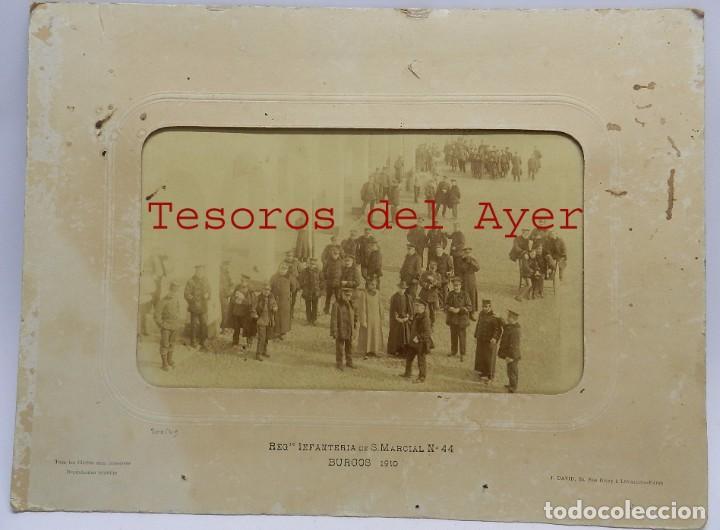 FOTOGRAFIA ALBUMINA DEL REGIMIENTO INFANTERIA DE S. MARCIAL N. 44, BURGOS 1910, FOTO J. DAVID, PARIS (Militar - Fotografía Militar - Otros)