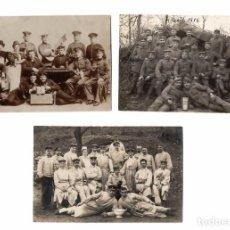 Militaria: 3 FOTOGRAFÍA POSTAL MILITAR WW1 PRIMERA GUERRA MUNDIAL SOLDADOS. Lote 63136084