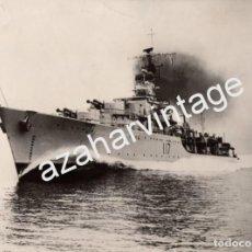 Militaria: WWII, ESPECTACULAR FOTOGRAFIA DEL BARCO DE LA US NAVY, ALAMEIN, 206X152MM. Lote 63749843