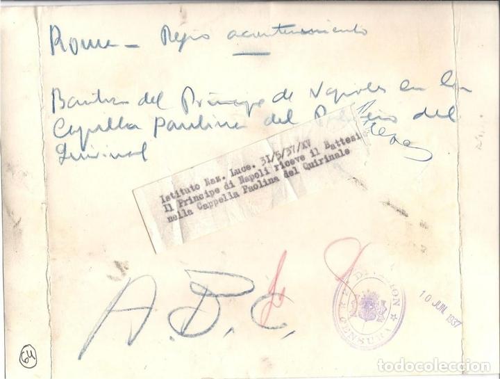 Militaria: FG002 LOTE DE 2 FOTOGRAFÍAS DEL NACIMIENTO Y BAUTIZO DE VÍCTOR MANUEL DE SABOYA - 1937 - Foto 2 - 43747391